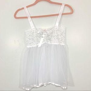 Vintage | White Lace Flowy Sheer Lingerie Top